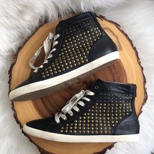 Frye Shoes - Frye high top leather back zip sneakers